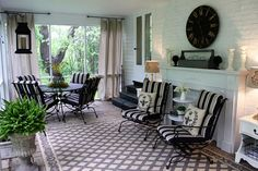 Screened Porch with rotating curtain rod