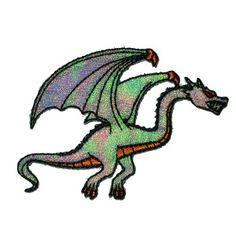 $1.75 * #IronOnPatch Applique - Dragon Green Sparkle