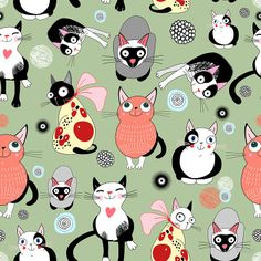 FREE printable cat pattern tile | Tanor — Pattern with funny cats (800x800)