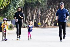 Matthew McConaughey and his wifey Camila Alves, both in sweet shades, embarked on a family workout session with their adorable kiddies!