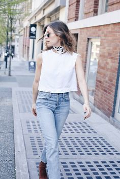 effortless spring street style with a neck scarf