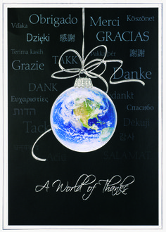 Universal Greetings Holiday Cards  The big blue earth marble hangs in a glass sphere and makes the Universal Greetings Card a perfect choice for sending the merriest of wishes. Unique touches include embossed silver foil on white gloss stock