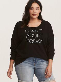 Black I Can't Adult Today Cotton Sweatshirt, DEEP BLACK