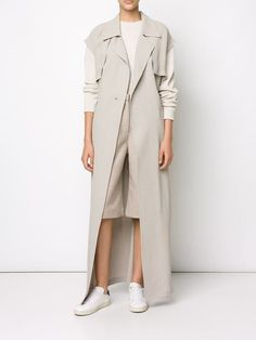 Baja East long sleeveless coat