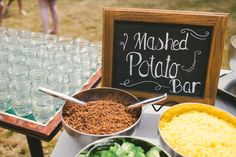 Mashed potato bar - letting guests creative minds run wild with all the various mix ins they can choose to create their mashtini's