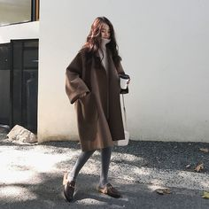 Korean 2018 Autumn Winter Women'S Loose Oversized Coat Casaco Feminino Black Coffee Long-Sleeved Casual Woolen Coat With Pocket Korean Fashion Trends, Korean Street Fashion, Korea Fashion, Asian Fashion, Look Fashion, Fashion Coat, Fashion Clothes, Fashion Women, Fashion Belts