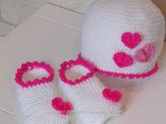 Love Heart Hat and Slipper Set