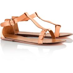 H&M Leather sandals (£25) ❤ liked on Polyvore featuring shoes, sandals, flats, h&m, flat heel sandals, h&m flats, leather flat shoes, leather strap sandals and flat pumps