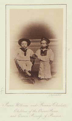 L Haase & Co (active c. - Emperor Wilhelm II when Prince William and Princess Charlotte, children of the Crown Prince and Crown Princess of Prussia, 1863 Wilhelm Ii, Kaiser Wilhelm, Victoria Family Tree, Young Prince, Grand Duke, Rare Pictures, Prussia, Crown Royal, Prince And Princess