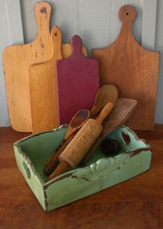 Primitive Vintage Cutlery Tray Utensil Tool Tea Caddy Tote Box Organizer Wall…