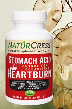 Let NaturCress tame your occasional heartburn. It's simply garden cress seed and zinc in fast-action capsules. Drug-free and non-habit forming it works two ways. Money-back guarantee for 90 days with free shipping and returns. Live better with NaturCress. Natural Heartburn Relief, Taco Pizza, Cress, Stomach Acid, Drug Free, Mint Chocolate, Natural Remedies, Herbalism, Action