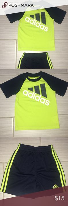 Boys Adidas Set Boys Adidas Set (includes shirt and shorts) Size 2T (24 months) Colors: Navy Blue and Green  In great pre owned condition. No stains or flaws.   Visit my closet for other similar listings. Bundle and save 💕  Comes from a smoke/pet free home. adidas Matching Sets