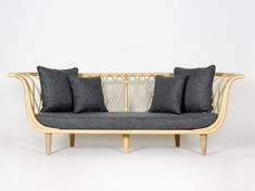 TAFETTA - This intricately rattan core woven sofa may look del icate but do not underestimate its durability. Perfect for that outdoor-look but indoors, the Taffeta embodies utilitarian elegance. Designed by Alvin Tjitrowirjo | www.alvin-t.com Outdoor Sofa, Outdoor Furniture, Outdoor Decor, Wooden Couch, Sofa Furniture, Product Design, Rattan, Catalog, Core