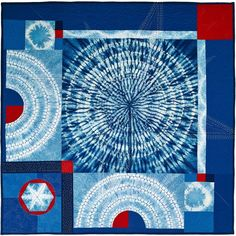 "Thomas Roach Interstellar Space from the Common Threads Indigo Quilt Project2014, shibori, indigo, cotton, rayon, piecing, machine quilting, hand stitching, 38"" x 38"". Photo: Martin Knowles."