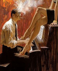 Cant go wrong with a womans long legs, a man playing piano, and smoking.