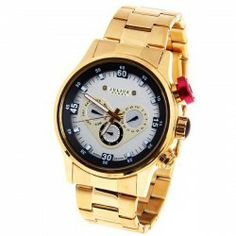 $37.91 Julius Quartz Watch with Number and Strips Indicate with Round Dial Steel Watch Band for Men - Gold