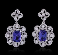 14kt White Gold 5.2ctw Tanzanite and Diamond Earrings