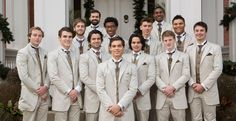 Classic Khaki groomsmen suit with brown accents.