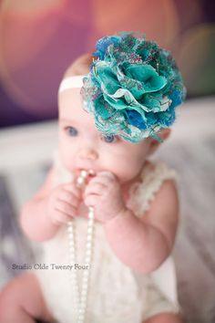 Peacock Baby Headband Big Flower Headband by SweetEllasBoutique, $12.25