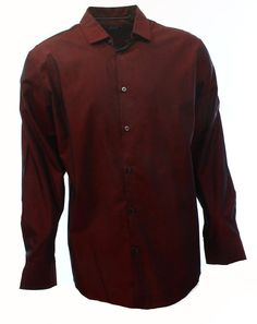 ALFANI NEW Maroon Red Mens US Size Large L Button Front Dress Shirt $52 #115