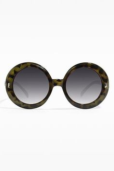 Giselle Brand Oversized Round 'Reed' Sunglasses - Green Tortoise - 5508-6
