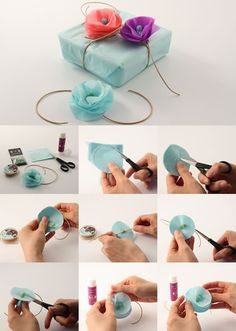 Make flowers to decorate your presents.