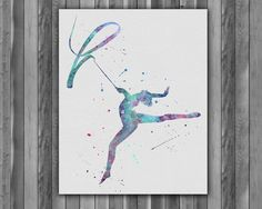 Digital printing – Gymnastics watercolor painting Printable Art – a unique product by Irene913 on DaWanda
