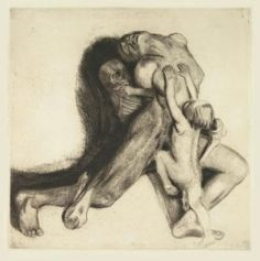"Kathe Kollwitz, ""Death & Woman"" etching"
