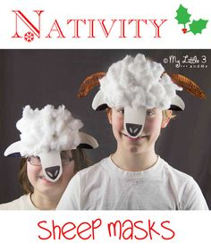 Make cute fluffy lamb and sheep masks. David/shepherd/etc Bible Crafts For Kids, Holiday Crafts For Kids, Easy Crafts For Kids, Kids Christmas, Halloween Crafts, Nativity Sheep Costume, Sheep Costumes, Diy Costumes, Fancy Dress For Boy