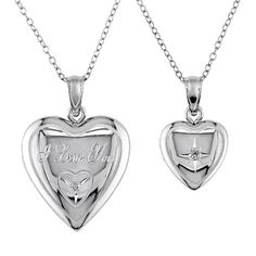 """Diamond Accent Sterling Silver """"I Love You"""" Heart Locket Necklace Set, Women's, Size: 18"""", White"""