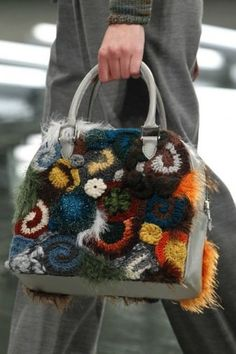 Handbag con fiori di lana Rodarte