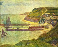 Harbour at Port-en-Bessin at High Tide 1888 Canvas Art - Georges Seurat x Georges Seurat, Paul Signac, Paul Gauguin, Georgia O'keeffe, World Famous Artists, Post Impressionism, Beach Landscape, Landscape Art, High Tide