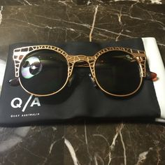 Quay Fleur Fleur Gold/Green Lens. Never Worn. Soft case in picture included. Quay Accessories Sunglasses