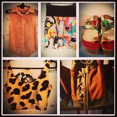 camisa salmon + mini volados + top animal print + sandalias pisco + cartera corste naranja.