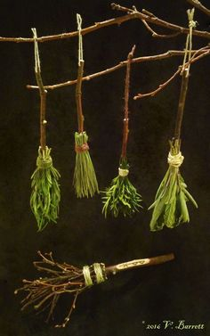 Witches, Get Your Broom On (or, Get On Your Broom)! – gillyflower Altar, Witch Room, Witch Wand, Wiccan Crafts, Witch Aesthetic, Nature Crafts, Book Of Shadows, Halloween Crafts, Wands