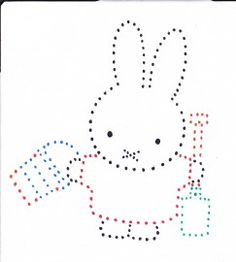 Nijntje,leuk om met naald en draad te rijgen String Art Patterns, Craft Patterns, Sewing Patterns, Paper Embroidery, Embroidery Patterns, Shapes For Kids, Rhinestone Art, Miffy, Spring Crafts