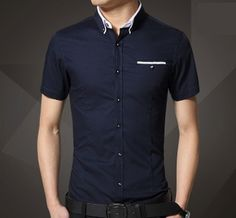 Mens Short Sleeve Shirt with Collar Details Casual Shirts For Men, Men Casual, Men Shirts, Shirt Men, Summer Wear, Summer Outfits, Pinterest For Men, Only Shirt, Latest Mens Fashion