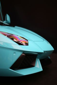 Cool Tiffany Blue Lamborghini Aventador Closeup