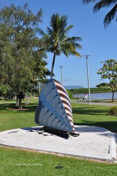 Dom Johns - Telescopus, a large mosaic shell sculpture, part of the Esplanade public art display. Outdoor Sculpture, Skate Park, Cairns, Rock Climbing, Public Art, Great Places, Street Art, Mosaic, Sculptures