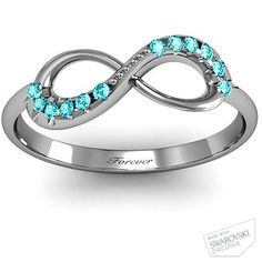 Infinity Ring with his and hers birthstones, and anniversary date. This would be perfect for everyday wear and save my wedding ring set for specially occasions! Bling Bling, Ring Set, Ring Verlobung, Hand Ring, Mom Ring, Ring Cake, Bezel Ring, Ring Finger, Jewelry Box