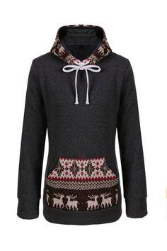 Deer Printed Warm Hooded Dark Gray Sweater  Cute