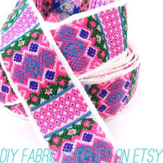 Pink Geometric Tribal Aztec Embroidered by DIYFabricSupplies, $1.90 on etsy.com  www.astralriles.com #ReDesign #ReInvent #ReLive