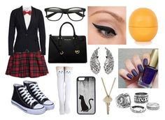 """Private School"" by lovelylittletri ❤ liked on Polyvore featuring Glamorous, H&M, Vero Moda, Gipsy, MICHAEL Michael Kors, CellPowerCases, The Giving Keys, LORAC and Topshop"