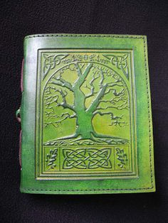Celtic TREE of LIFE Handmade Green Leather Journal Diary Notebook - Pages of Handmade Cotton Paper - Freepost UK