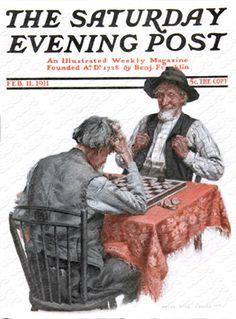 Geezer Checker Game by Anton Otto Fischer, Feb. 11, 1911, The Saturday Evening Post.