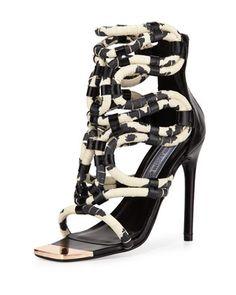 Venezuela Snake-Embossed Caged Sandal, Black/White by Ivy Kirzhner at Neiman Marcus Last Call.