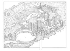 Downley House. VisualARQ and the pleasure of drawing. Axonometric view of building and entrance court