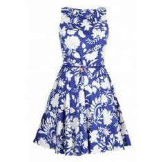Closet Blue Floral Print Belted Flare Dress