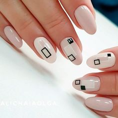 Geometric nail art designs look beautiful and chic on short and long nails. Geometric patterns in any fashion field are the style that fashionistas dream of. This pattern has been popular in nail art for a long time, because it is easy to create in n Black And White Nail Designs, Black White Nails, White Nail Art, Colorful Nail Designs, Nail Art Designs, Nude Nails, My Nails, Manicure, Geometric Nail Art