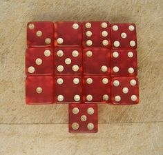 THIRTEEN RED DICE with White Dots Lucite Di Gaming Collectible Gambling Dice Casino Di Mid to Late 20th Century by OnceUpnTym on Etsy